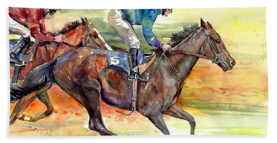 Horse Bath Towel featuring the painting Horse Races by Suzann Sines