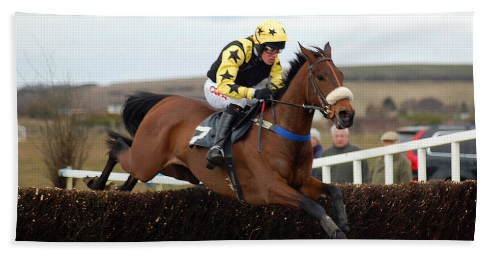 Horse Racing Hand Towel featuring the photograph Horse Racing by John Hughes