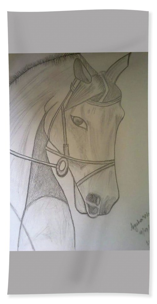 Horse Hand Towel featuring the drawing Horse by Saad Dilawer