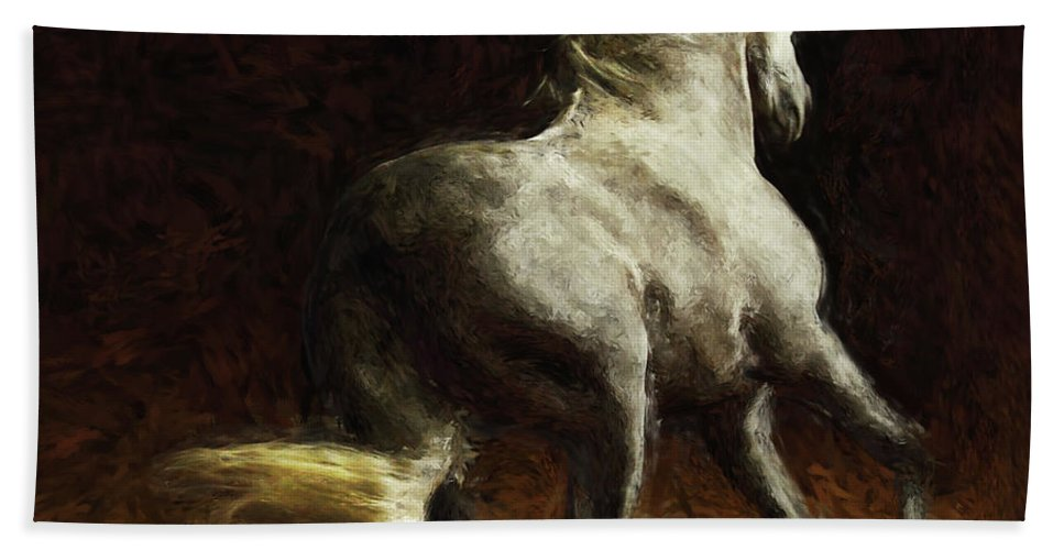 Horse Hand Towel featuring the painting Horse by Shahzad Hamid