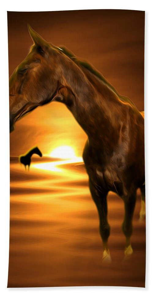 Horse Hand Towel featuring the digital art Horse by Svetlana Sewell