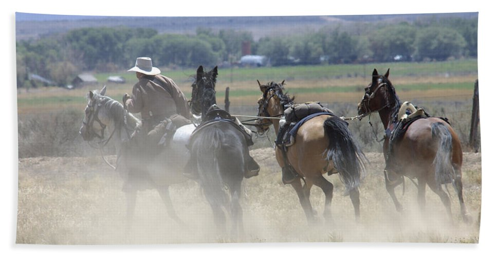 Cowboy Bath Sheet featuring the photograph Horse Thief by Jerry McElroy