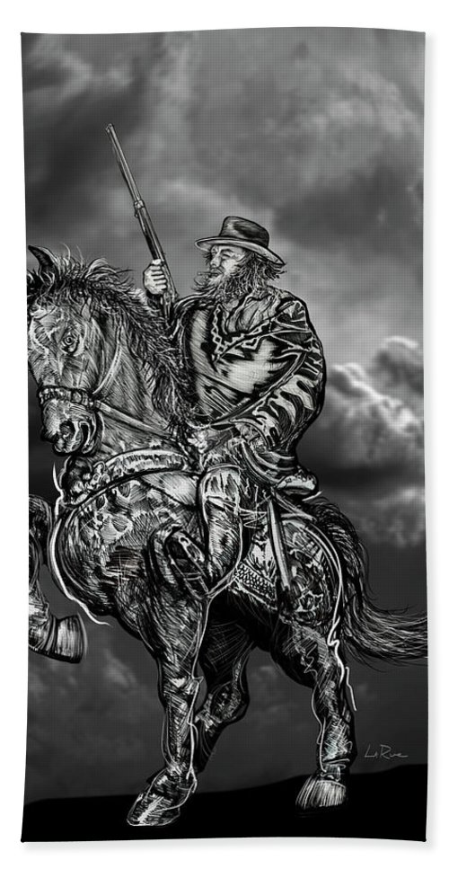 Horseman Bath Sheet featuring the mixed media Horseman by Doug LaRue