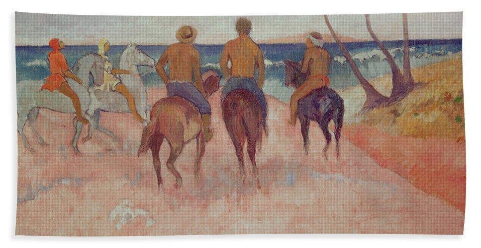 Horseman On The Beach (hiva Hoa) 1902 (oil On Canvas) By Paul Gauguin (1848-1903) Hand Towel featuring the painting Horseman On The Beach by Paul Gauguin