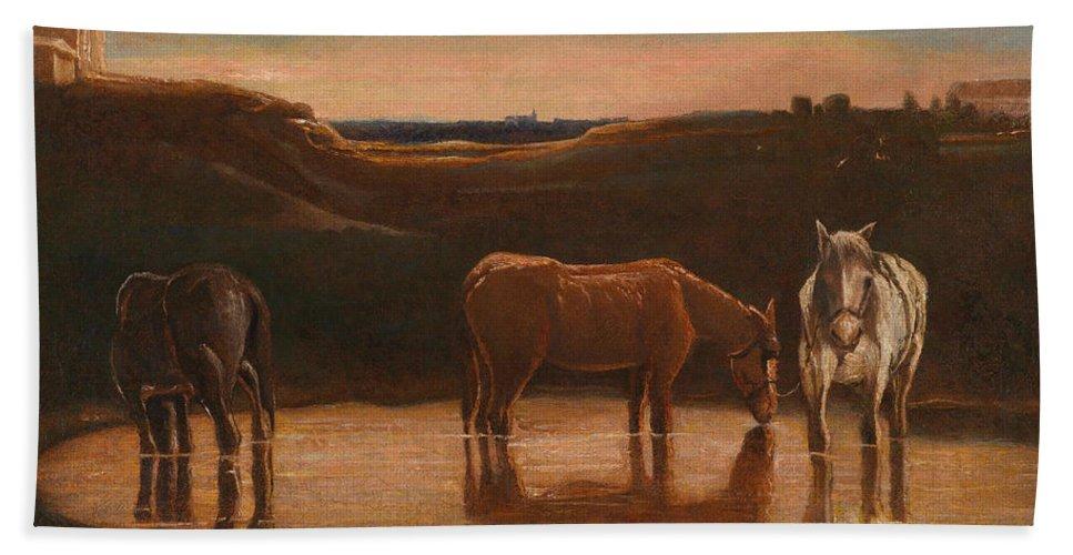 Giovanni Segantini Bath Towel featuring the painting Horses At The Ford by Giovanni Segantini