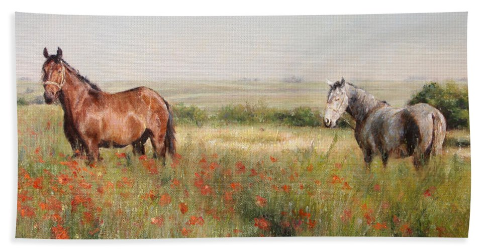 Poppy Hand Towel featuring the painting Horses in a Poppy field by Darko Topalski