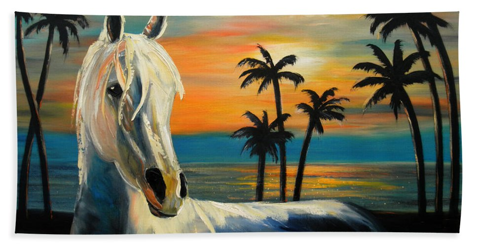 Horse Bath Towel featuring the painting Horses In Paradise Tell Me Your Dream by Gina De Gorna