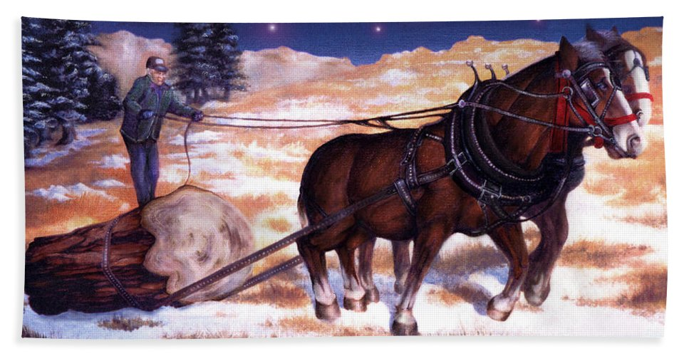 Horse Hand Towel featuring the painting Horses Pulling Log by Curtiss Shaffer
