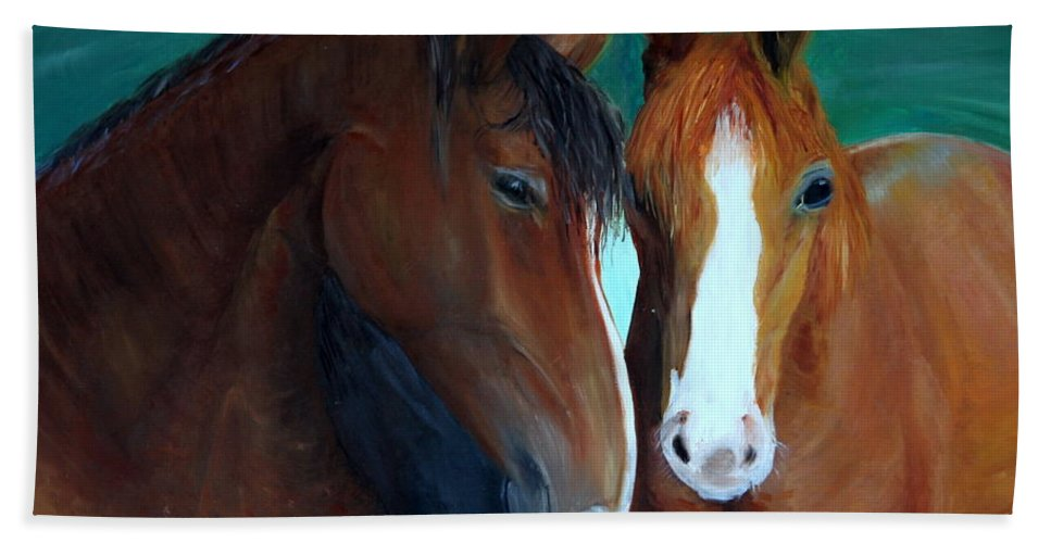 Horses Bath Towel featuring the painting Horses by Taly Bar