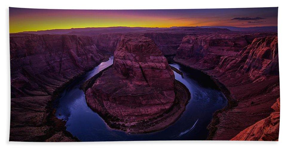 Arizona Bath Sheet featuring the photograph Horseshoe Sunset by James Zebrack