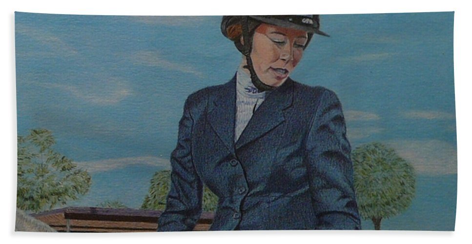 Colored Pencil Hand Towel featuring the drawing Horseshow Day by Patricia Barmatz