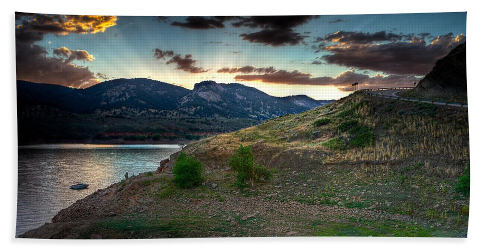 Sunset Bath Sheet featuring the photograph Horsetooth Reservior At Sunset by James O Thompson
