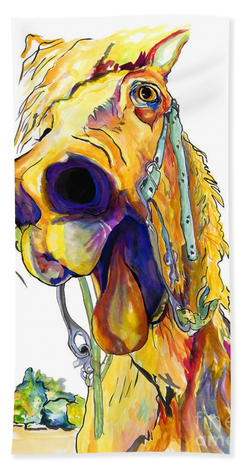 Animal Painting Bath Towel featuring the painting Horsing Around by Pat Saunders-White