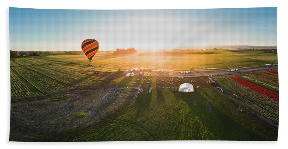 Travel Hand Towel featuring the photograph Hot Air Balloon Taking Off At Sunrise by William Freebilly photography