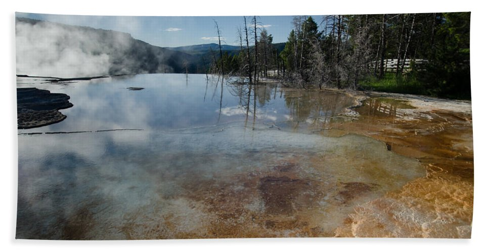 Landscape Bath Sheet featuring the photograph Hot Mammoth Springs Reflection by Crystal Wightman