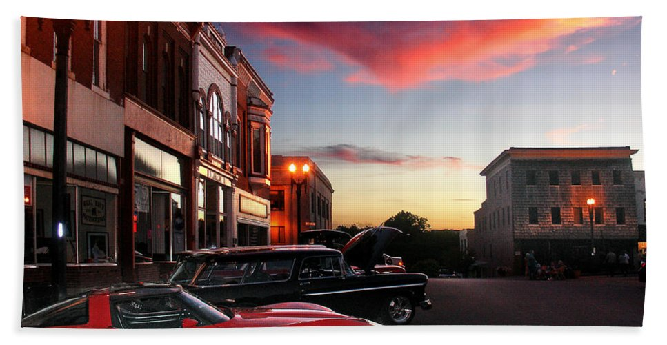 Car Hand Towel featuring the photograph Hot Night by Steve Karol