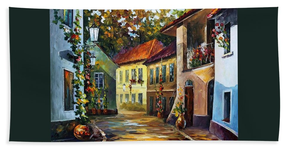 Afremov Hand Towel featuring the painting Hot Noon by Leonid Afremov