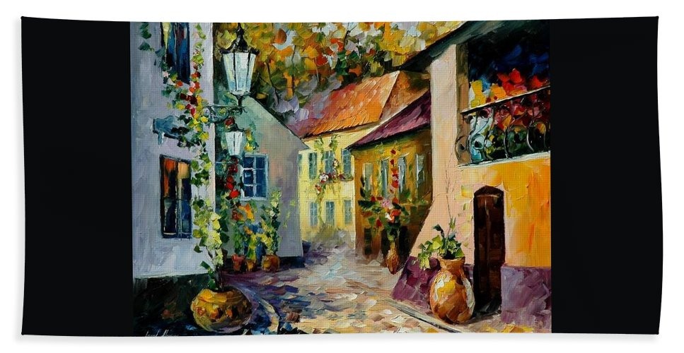 Landscape Bath Sheet featuring the painting Hot Noon Original Oil Painting by Leonid Afremov