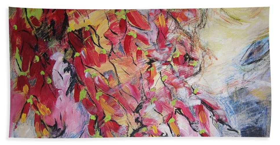 Hot Pepper Painting Bath Sheet featuring the painting Hot Pepper Drying by Seon-Jeong Kim