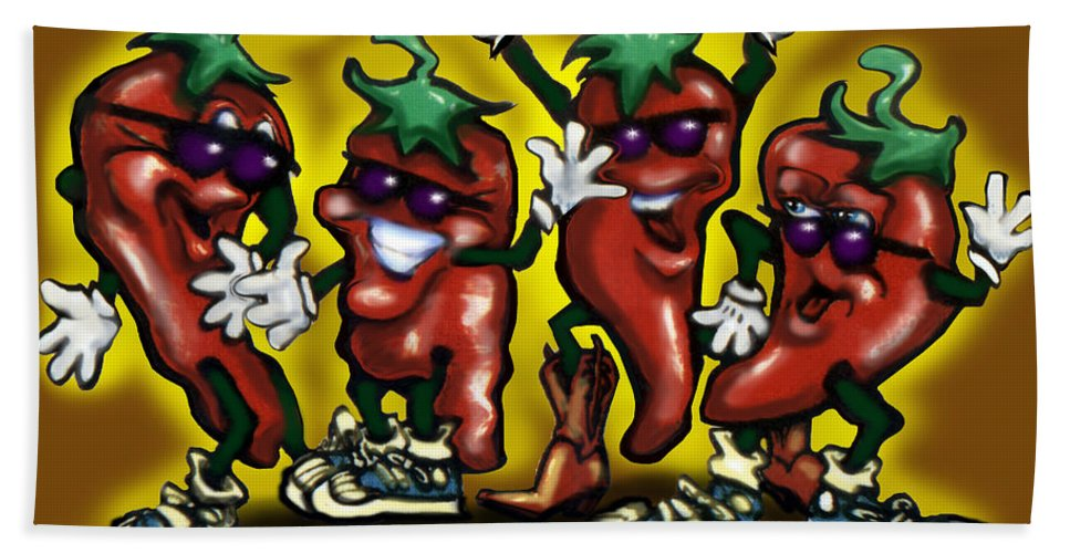 Hot Bath Sheet featuring the digital art Hot Peppers by Kevin Middleton