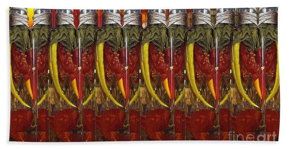 Peppers Hand Towel featuring the photograph Hot Pickled Peppers by Ron Bissett