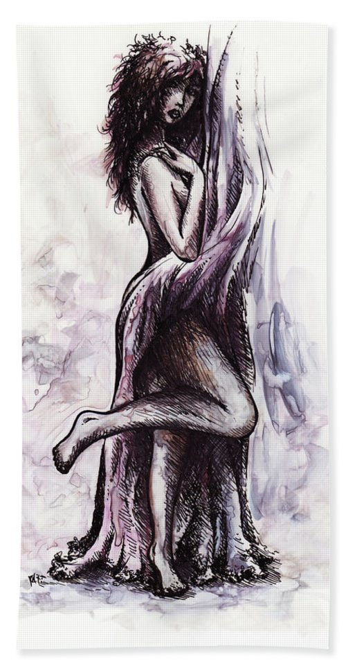 Figure Hand Towel featuring the drawing Hot by Rachel Christine Nowicki