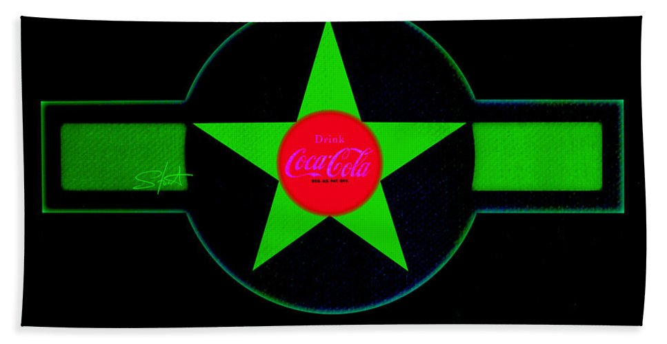 Label Bath Towel featuring the painting Hot Red On Cool Green by Charles Stuart