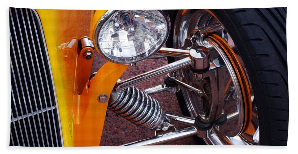 Car Hand Towel featuring the photograph Hot Rod Headlight by Jill Reger