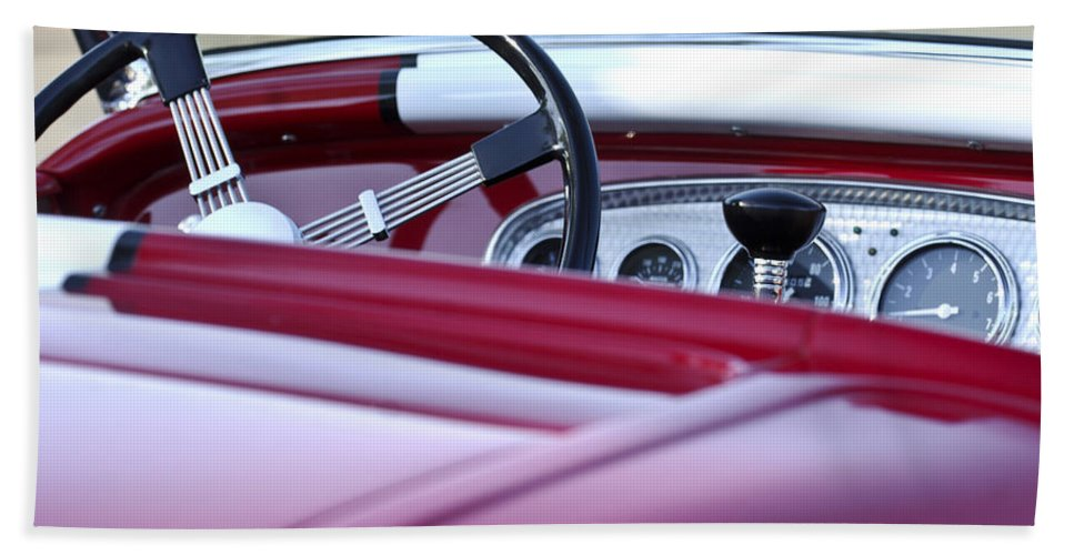 Hot Rod Hand Towel featuring the photograph Hot Rod Steering Wheel 3 by Jill Reger