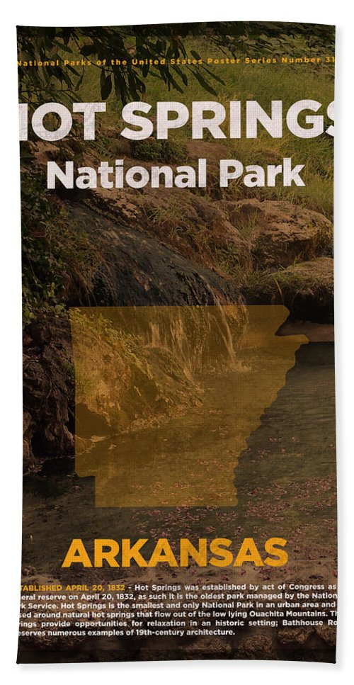 Hot Springs Bath Sheet featuring the mixed media Hot Springs National Park In Arkansas Travel Poster Series Of National Parks Number 31 by Design Turnpike