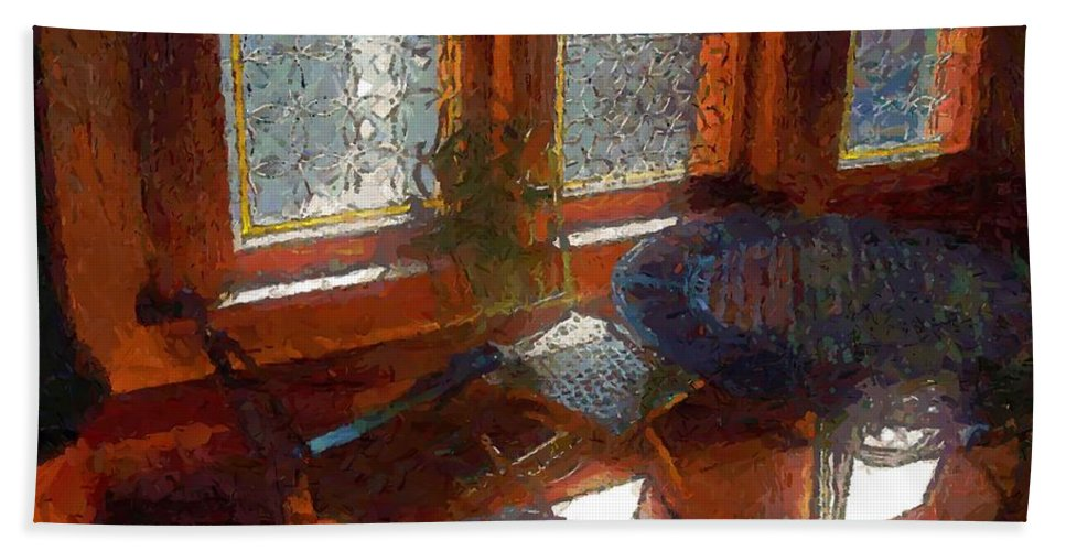 Chairs Hand Towel featuring the painting Hot Sun On Wrought Iron by RC DeWinter