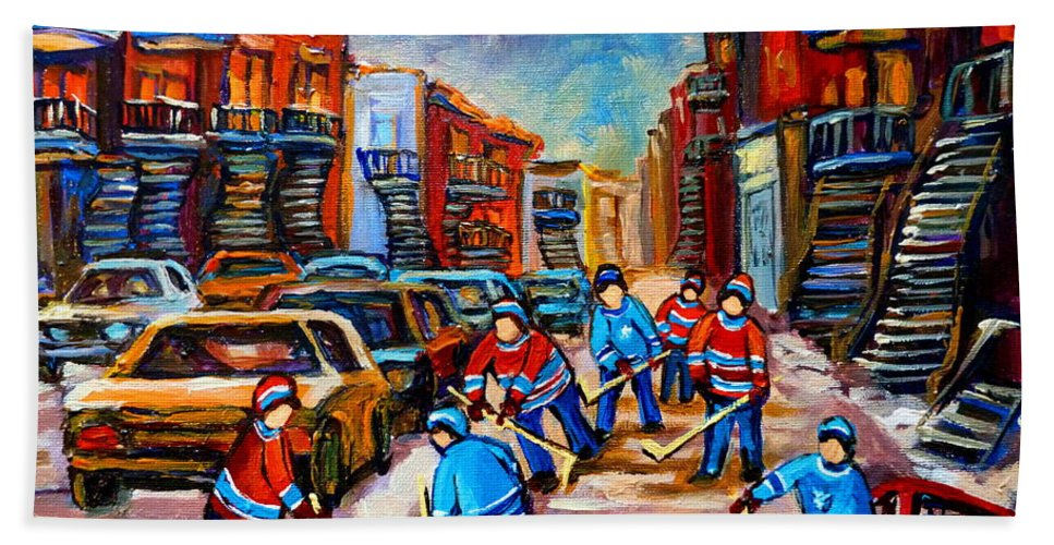 Montreal Bath Towel featuring the painting Hotel De Ville Montreal Hockey Street Scene by Carole Spandau
