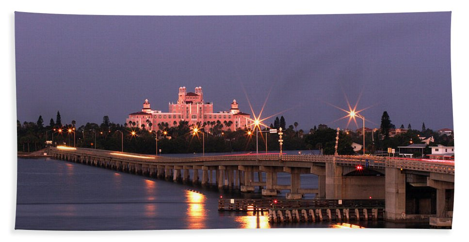 Don Cesar Hand Towel featuring the photograph Hotel Don Cesar The Pink Palace St Petes Beach Florida by Mal Bray