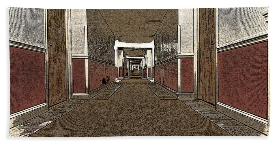 Hotel Hand Towel featuring the photograph Hotel Hallway. by Robert Ponzoni