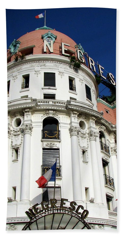 Hotel. Negresco Hand Towel featuring the photograph Hotel Negresco In Nice by Carla Parris