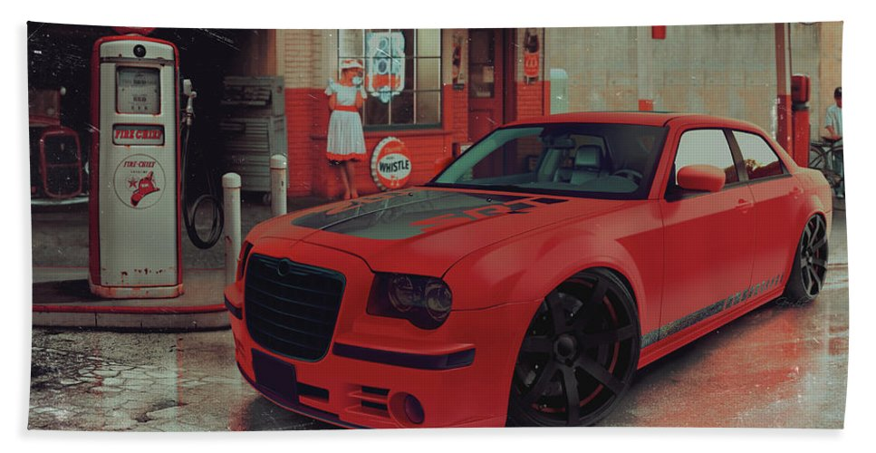 Chrysler Hand Towel featuring the digital art Hotred 300c by Norbert Gold