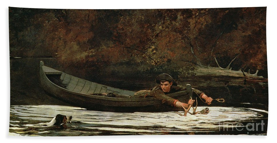 Hound And Hunter Bath Sheet featuring the painting Hound And Hunter by Winslow Homer