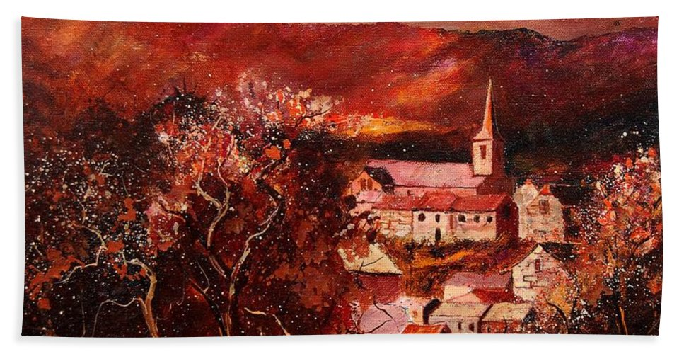 Tree Hand Towel featuring the painting Hour Village 67 by Pol Ledent