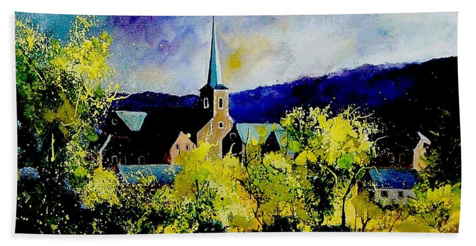Poppies Bath Towel featuring the painting Hour Village Belgium by Pol Ledent