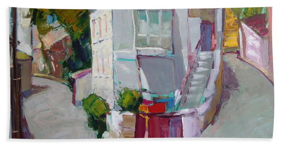Ignatenko Bath Towel featuring the painting Hous In Crimea by Sergey Ignatenko