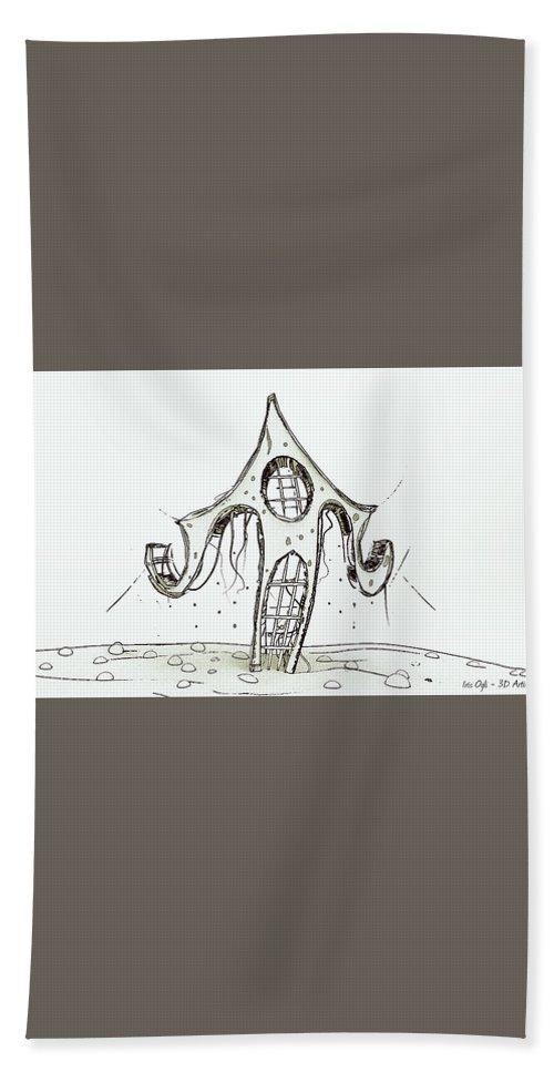 Hand Towel featuring the digital art House 2 by Iris Ogli