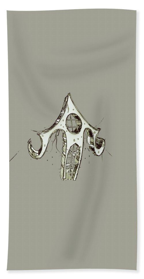 Hand Towel featuring the digital art House 3 by Iris Ogli