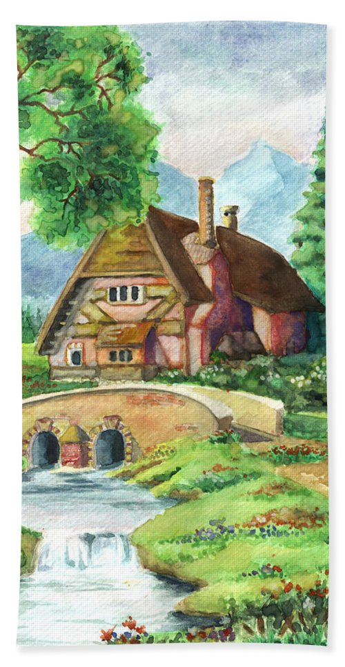 House Hand Towel featuring the painting House Along The River by Alban Dizdari