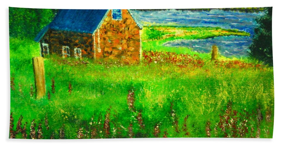 House Hand Towel featuring the painting House By The Field by Matthew Doronila