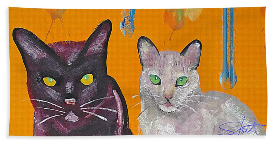 Cat Hand Towel featuring the painting House Cats by Charles Stuart