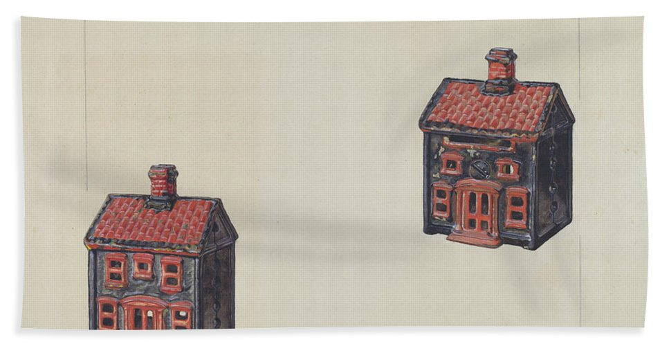 Hand Towel featuring the drawing House Coin Bank by Alf Bruseth