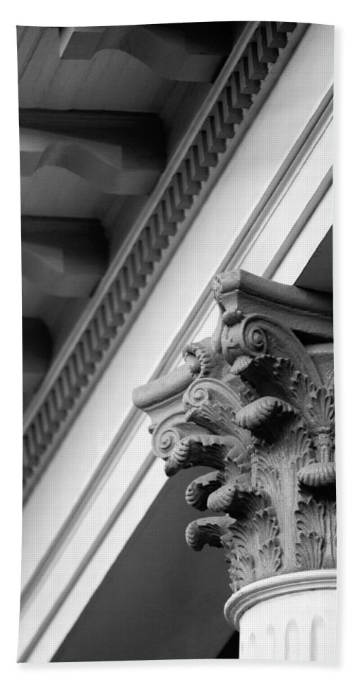 Black And White Hand Towel featuring the photograph House Column Black And White by Jill Reger