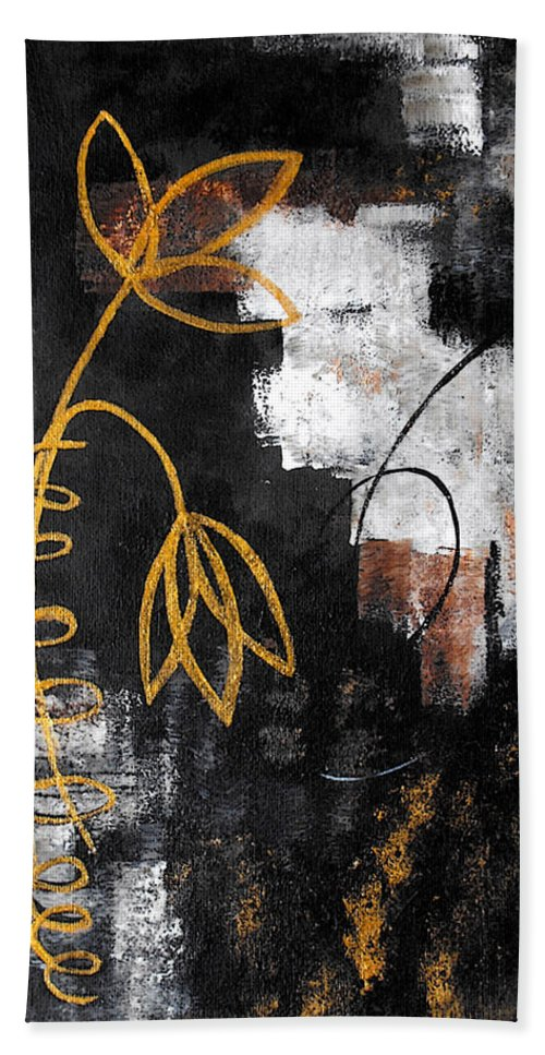 Abstract Bath Sheet featuring the painting House Of Memories by Ruth Palmer