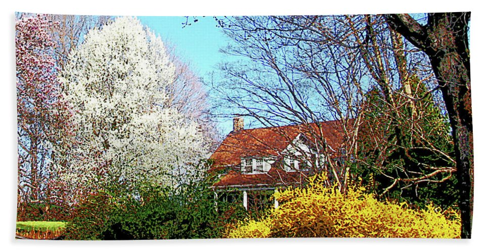 Spring Hand Towel featuring the photograph House On The Hill In Spring by Susan Savad