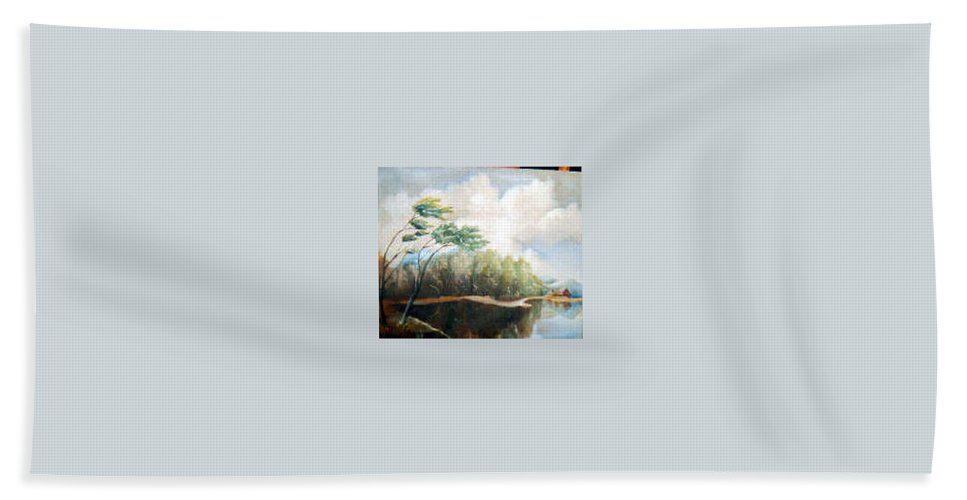 Landscape Hand Towel featuring the painting House On The Lake by Sergey Bezhinets